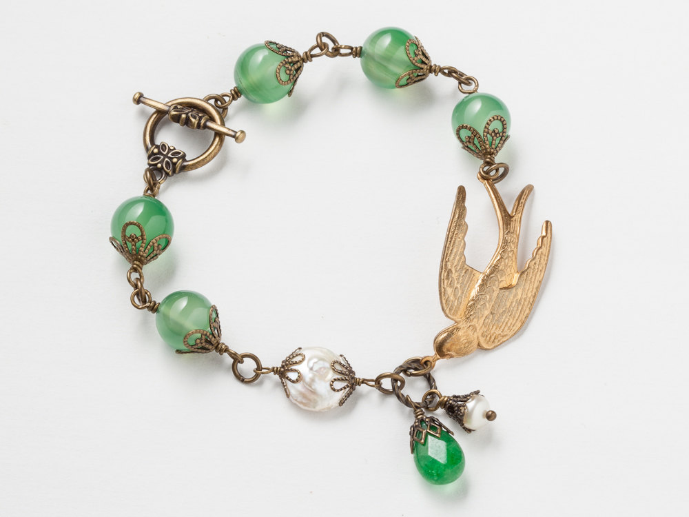 Neo Victorian Filigree Bracelet antique gold swallow bird charm emerald green agate white pearls jade womens jewelry