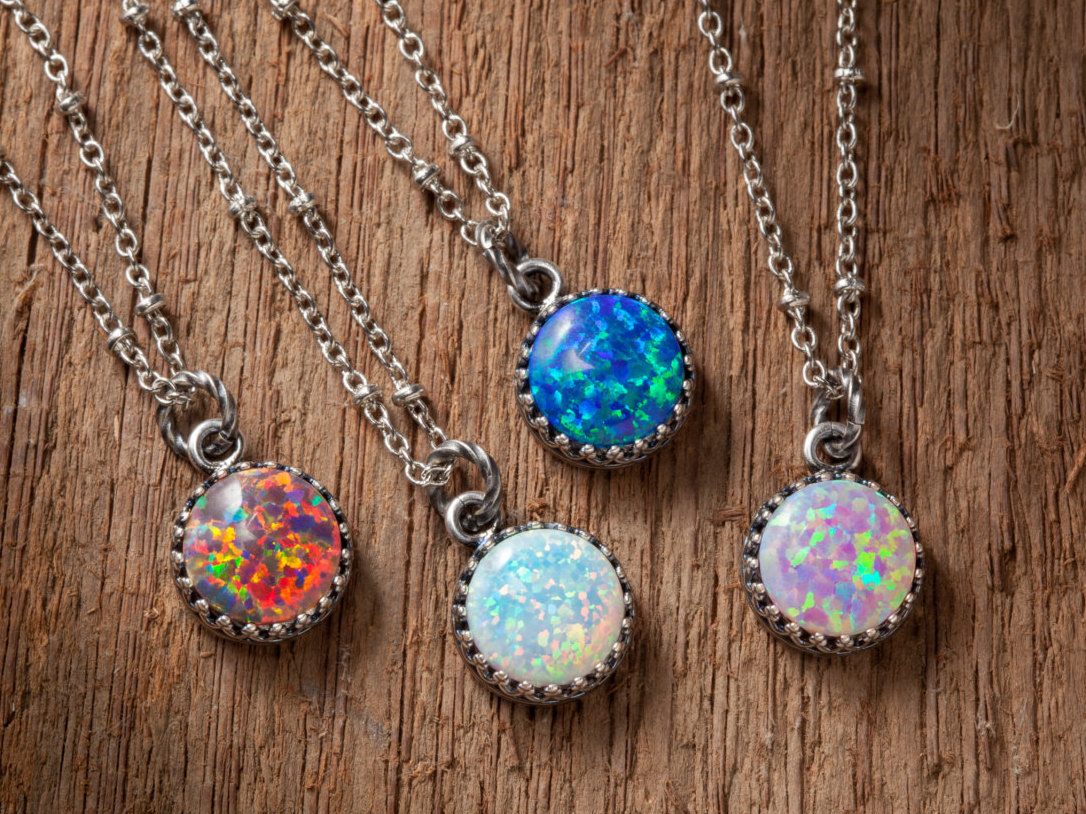 sterling pendant cz green teardrop opal fire blue necklace w and products silver