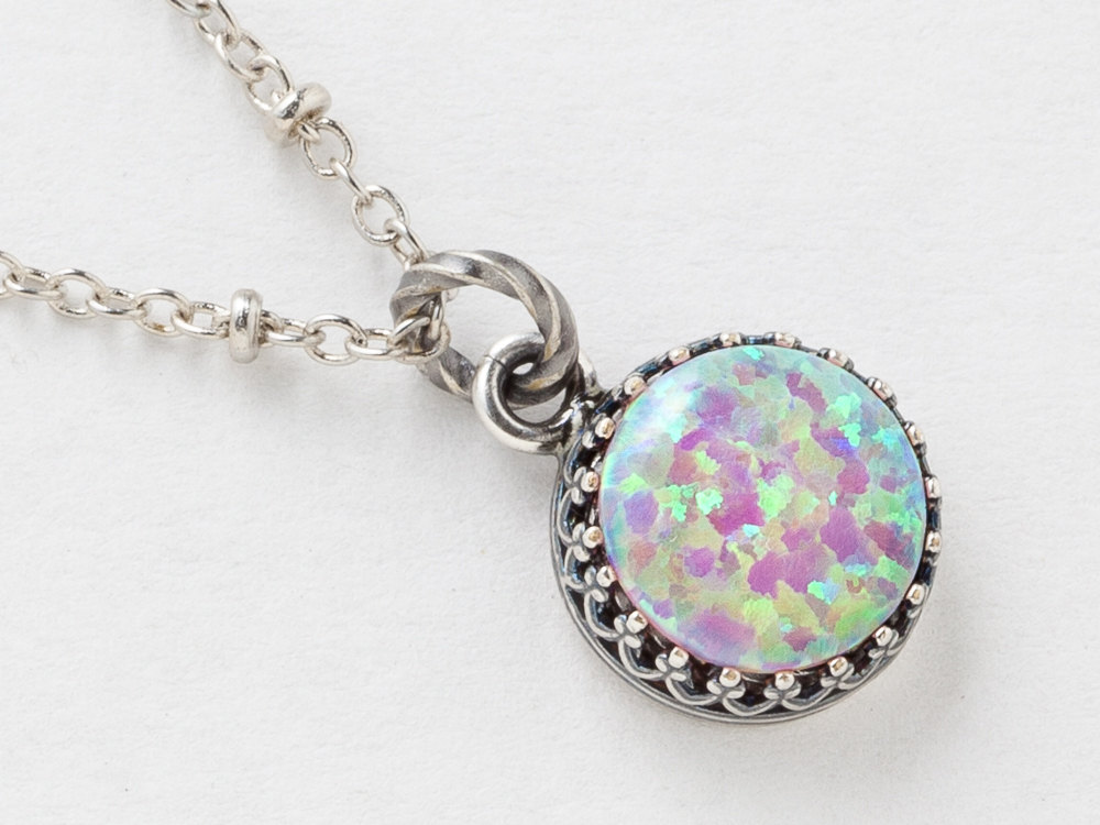 Opal necklace opal pendant in silver filigree with beaded chain opal necklace opal pendant in silver filigree with beaded chain your choice of pink black white aloadofball Choice Image