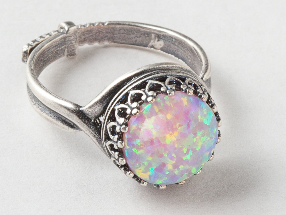 Opal Ring in Silver Filigree With Your Choice of Black Pink White or Fire Opal with Adjustable Band October Birthstone