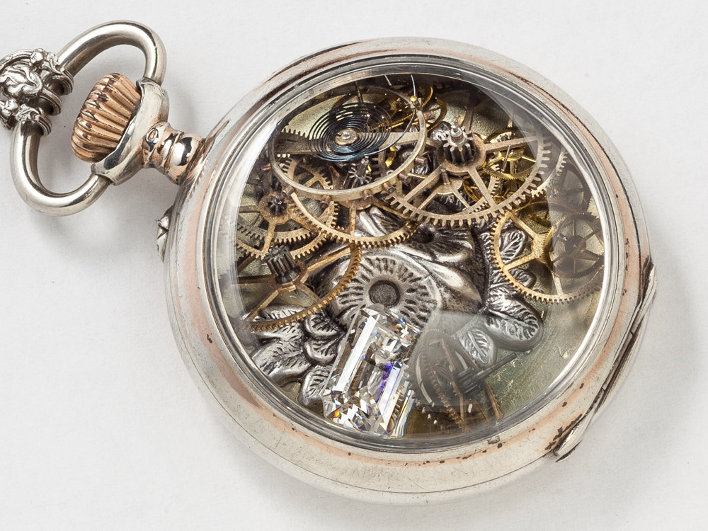 Pocket Watch Case Locket Necklace in Rose Gold and Sterling Silver