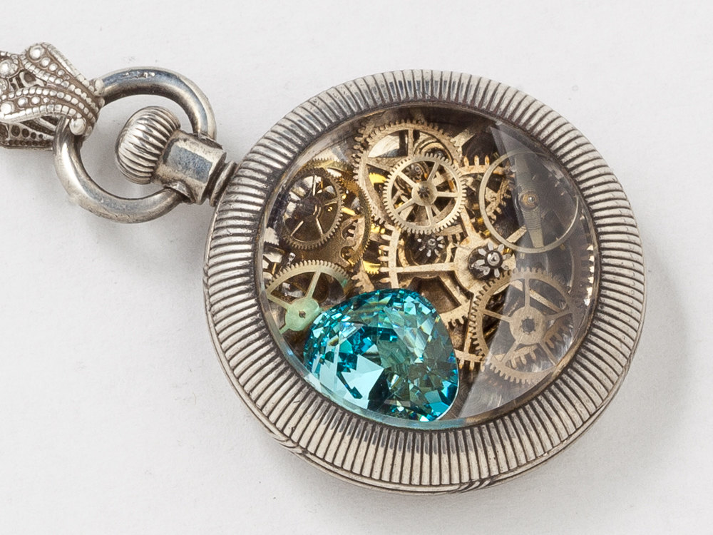 Pocket watch case necklace in sterling silver with gears bird charm pocket watch case necklace in sterling silver with gears bird charm and blue topaz filigree locket pendant statement necklace aloadofball Image collections