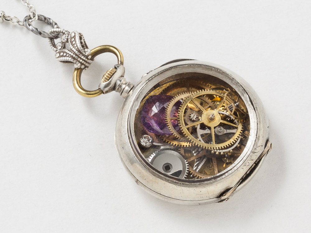 Pocket Watch Case Necklace Sterling Silver with gears bird charm purple Amethyst crystal filigree locket pendant Steampunk jewelry