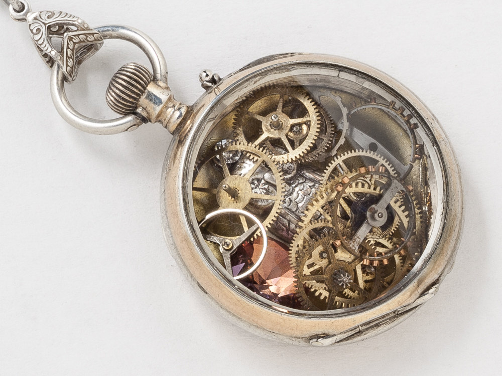 Rose Gold and Sterling Silver Pocket Watch Case Necklace Hand