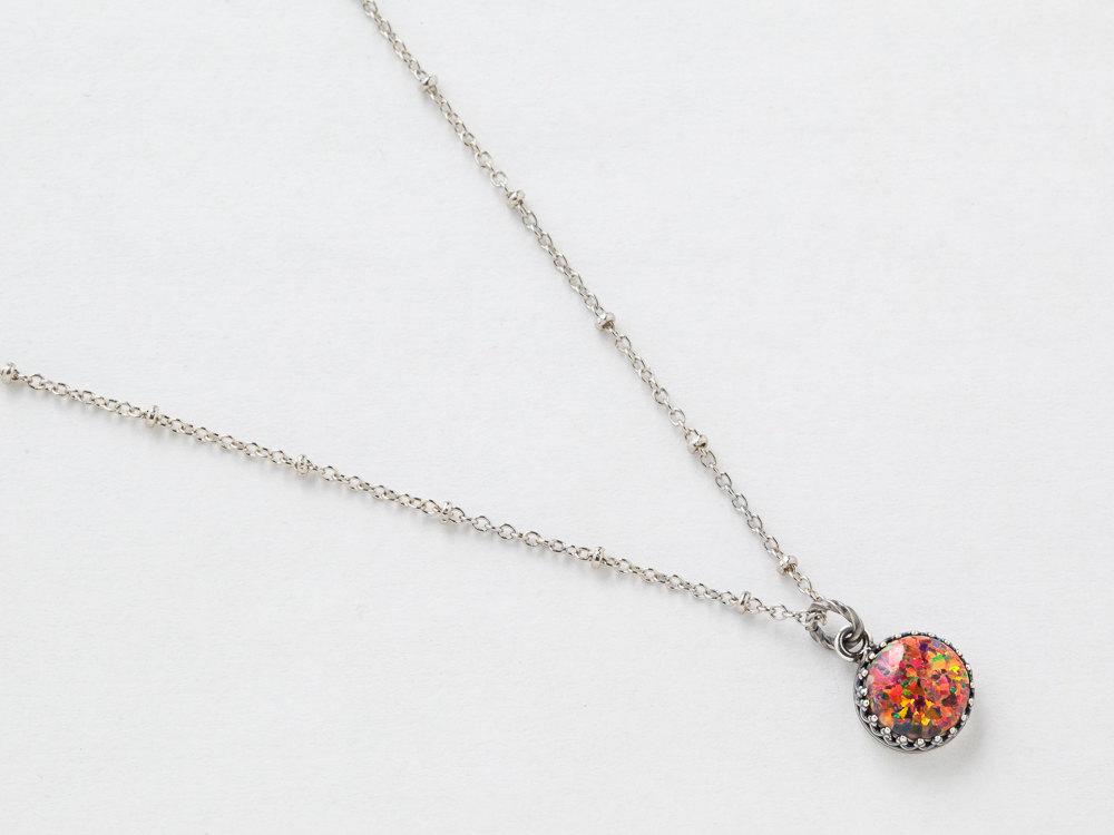 Silver Opal Necklace Fire Opal Pendant Mexican Opal Necklace in Silver Filigree with Beaded Chain October Birthstone Opal Jewelry