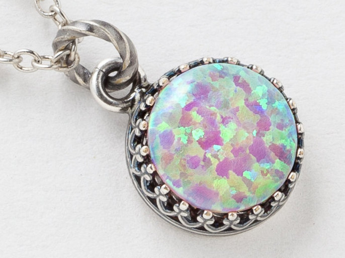 Silver Opal Necklace Opal Pendant Pink Opal Necklace in Silver Filigree Bezel with Beaded Chain October Birthstone Opal Jewelry