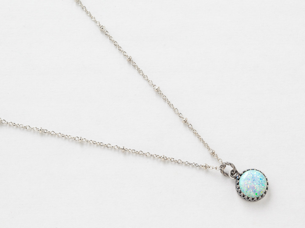 Silver Opal Necklace White Opal Pendant Australian Opal Necklace in Silver Filigree with Beaded Chain October Birthstone Jewelry