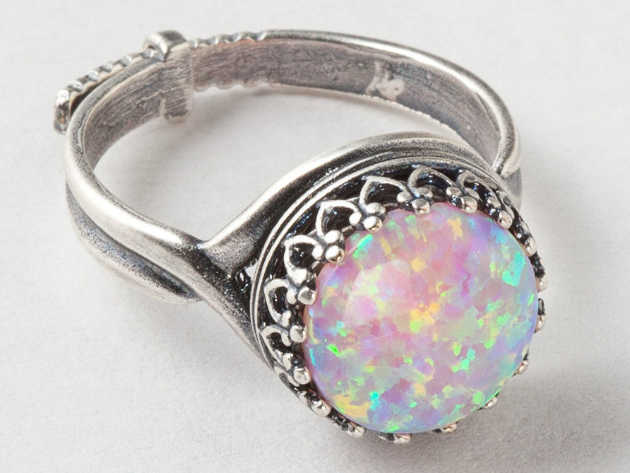 Silver Opal Ring Pink Opal Ring Silver Filigree Ring with Adjustable Band Statement Ring Cocktail Ring October Birthstone Jewelry