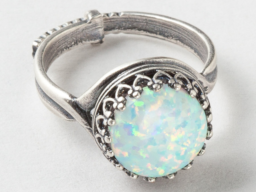 Silver Opal Ring White Opal Ring Silver Filigree Ring with Adjustable Band Statement Ring Cocktail Ring October Birthstone Jewelry