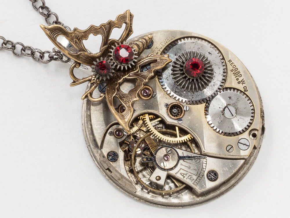 Silver Pocket Watch Necklace With Gold Filigree Butterfly Charm And Red Garnet Crystal Clockwork