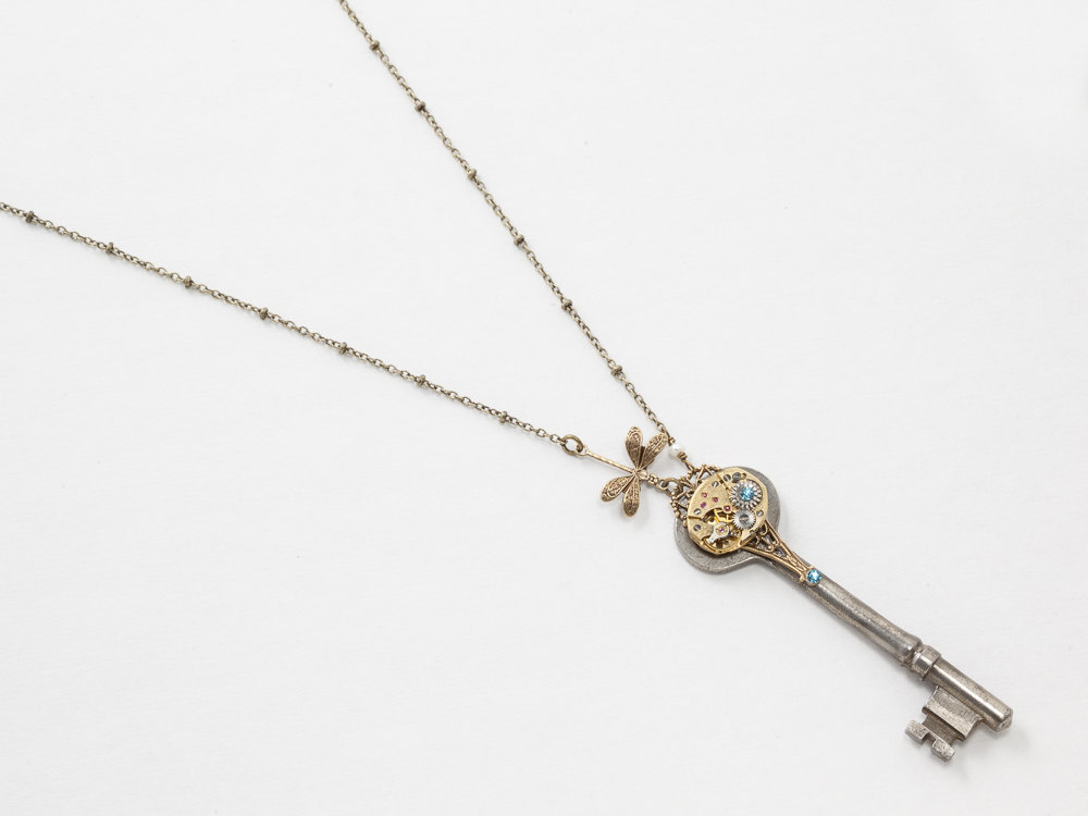 Steampunk Antique Skeleton Key Necklace with Gold Watch Aquamarine Crystal Pearl and Dragonfly Pendant Filigree Statement Necklace