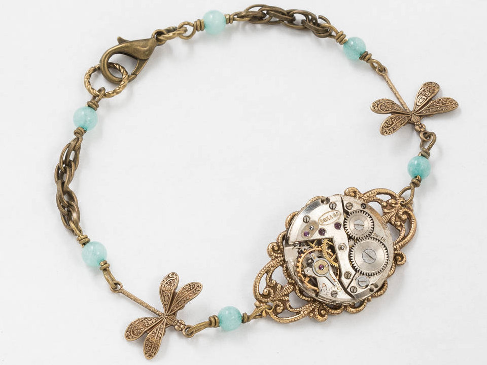 Steampunk Bracelet Dragonfly Bracelet with Silver Watch on Filigree with Genuine Blue Aquamarine on Gold Rope Chain Jewerly