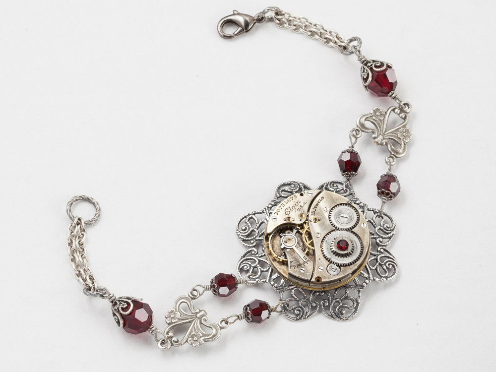 Steampunk Bracelet Elgin watch movement gears silver flower filigree garnet red crystal beaded chain bracelet