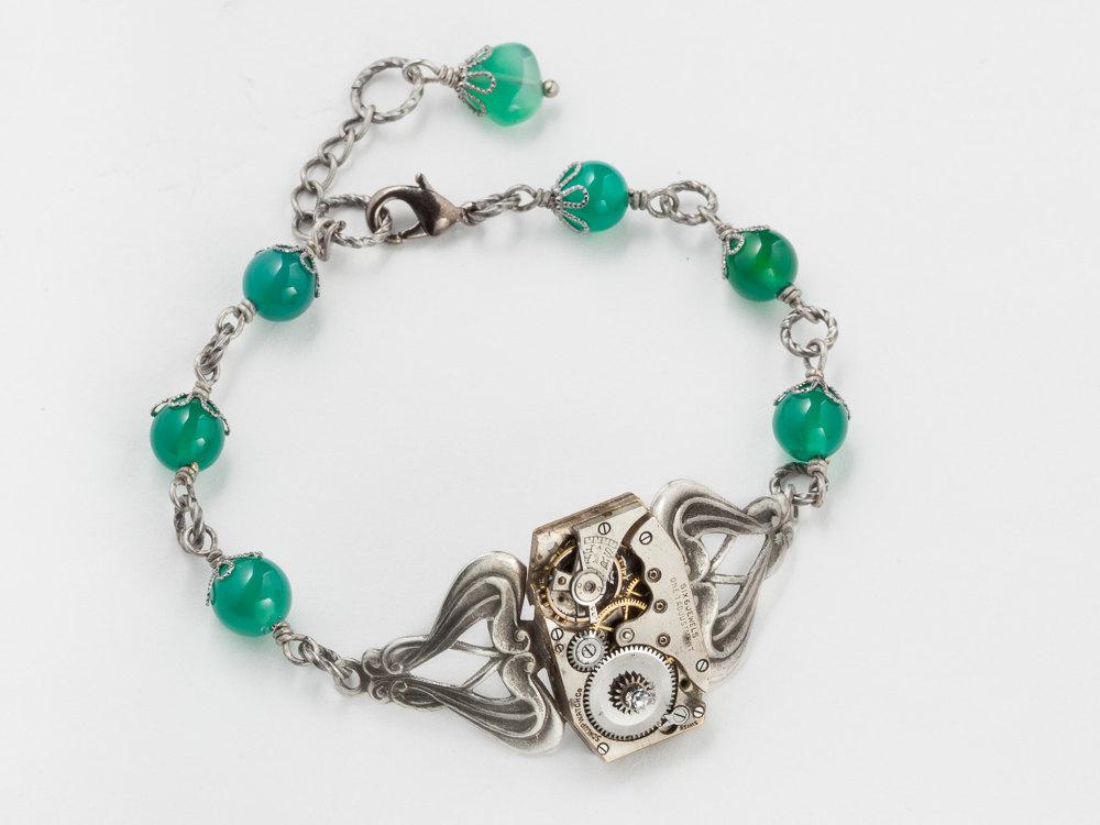 Steampunk Bracelet Steampunk jewelry watch movement gears silver filigree emerald green agate gemstone beads Swarovski crystal
