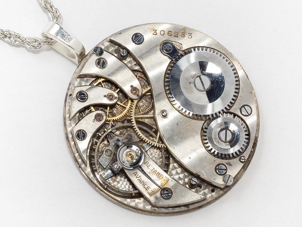 Steampunk Clockwork Necklace Pocket Watch Movement with Gears Ruby Jewels and Silver Rope Chain Mens Pendant Steampunk Jewelry