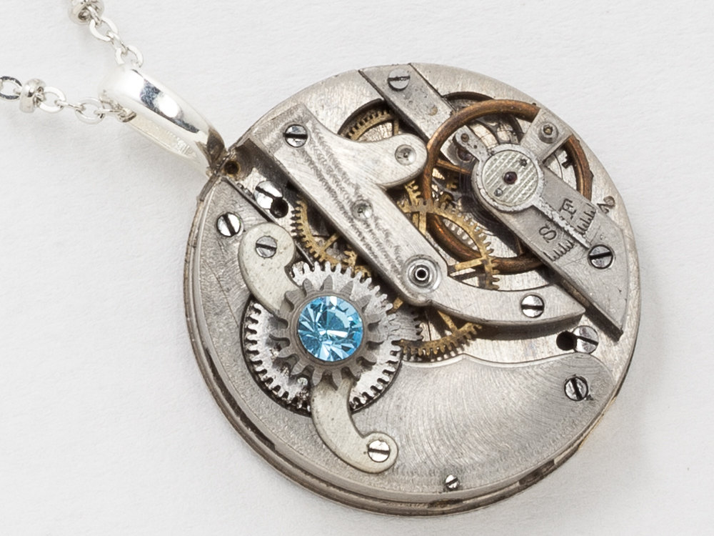 blue silver necklace watch pendant and pocket movement chain aquamarine crystal steampunk statement jewelry with clockwork