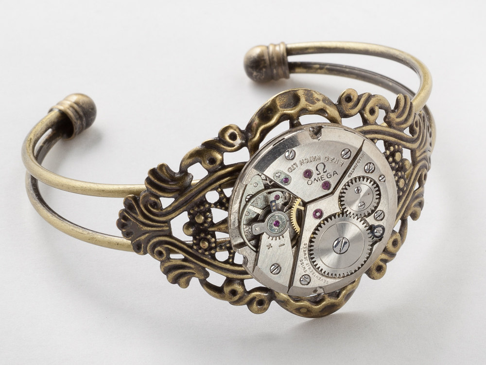 Steampunk Cuff Bracelet silver watch movement gears gold filigree bracelet womens Steampunk jewelry