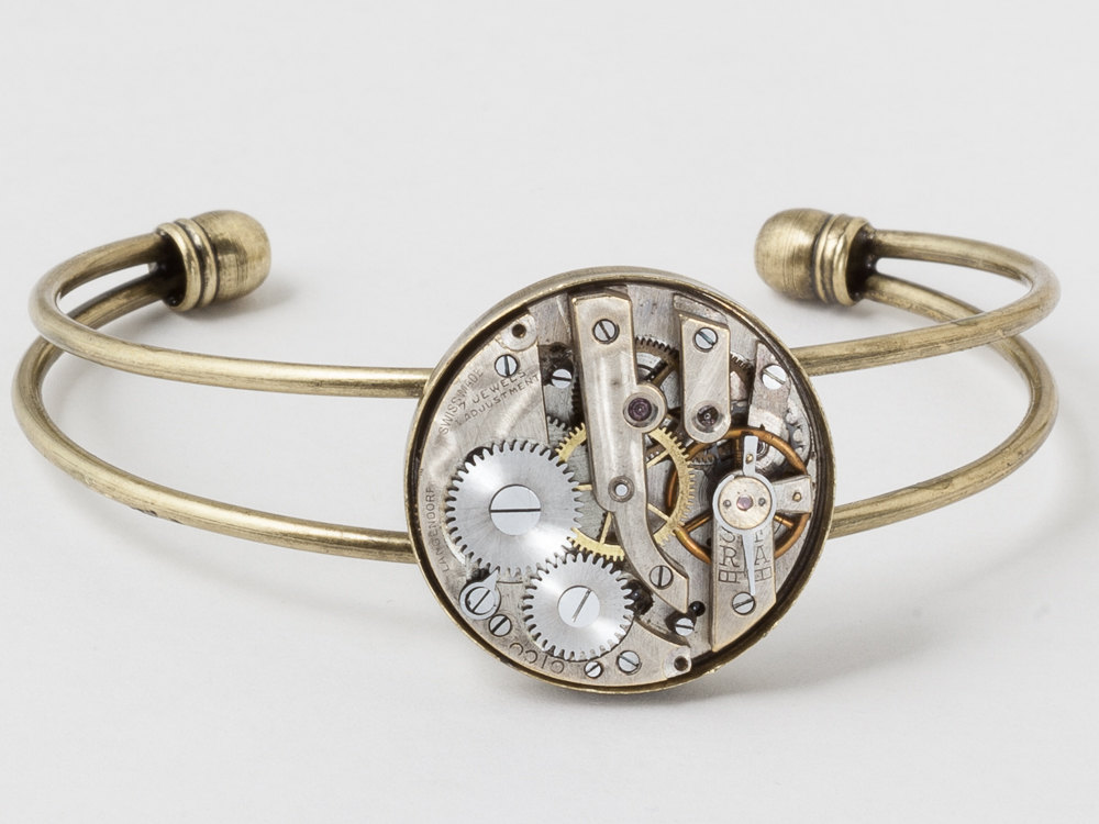 Steampunk Cuff Bracelet Victorian silver Pocket watch movement gold bracelet unisex mens womens jewelry