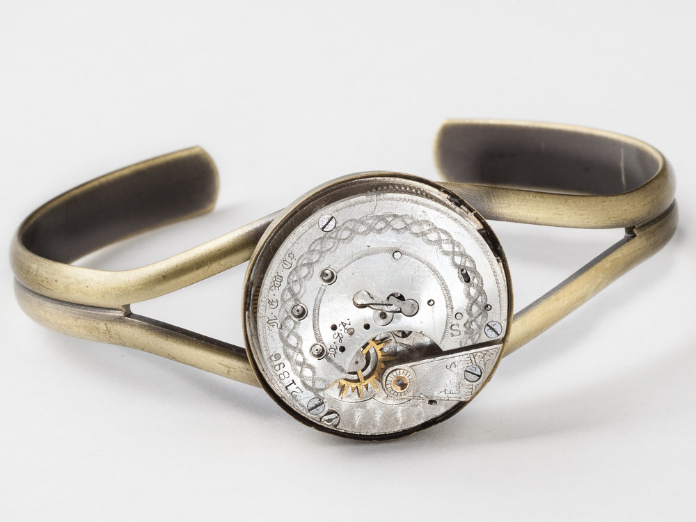 Steampunk Cuff Bracelet Featuring A Silver Pocket Watch Movement And
