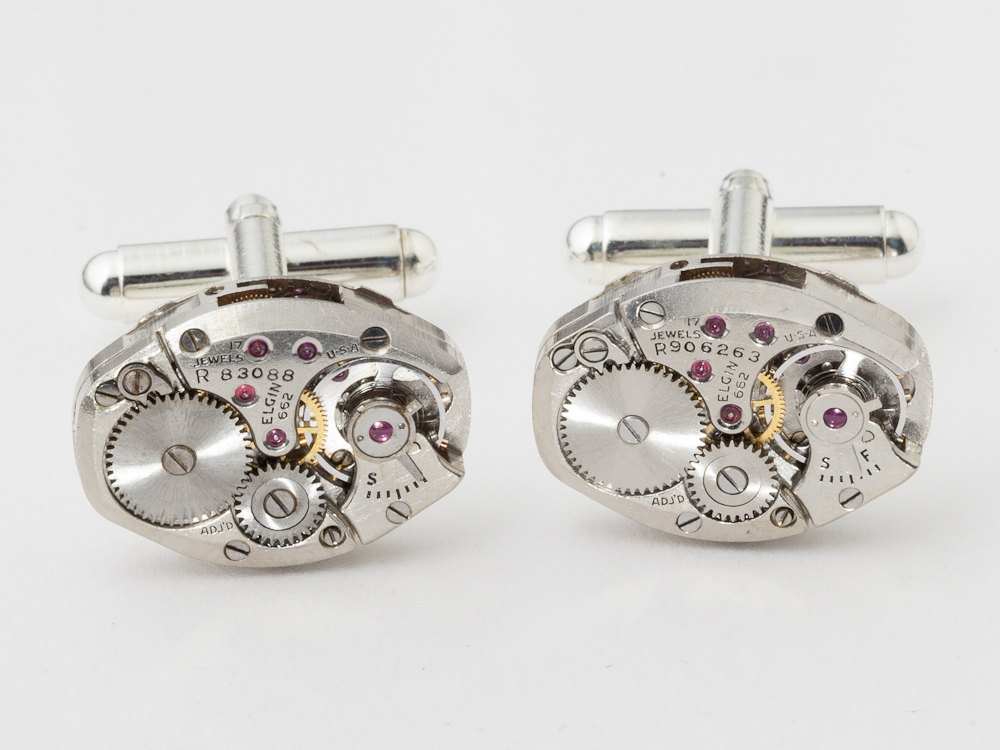 Steampunk cufflinks elgin watch movements gear wedding anniversary