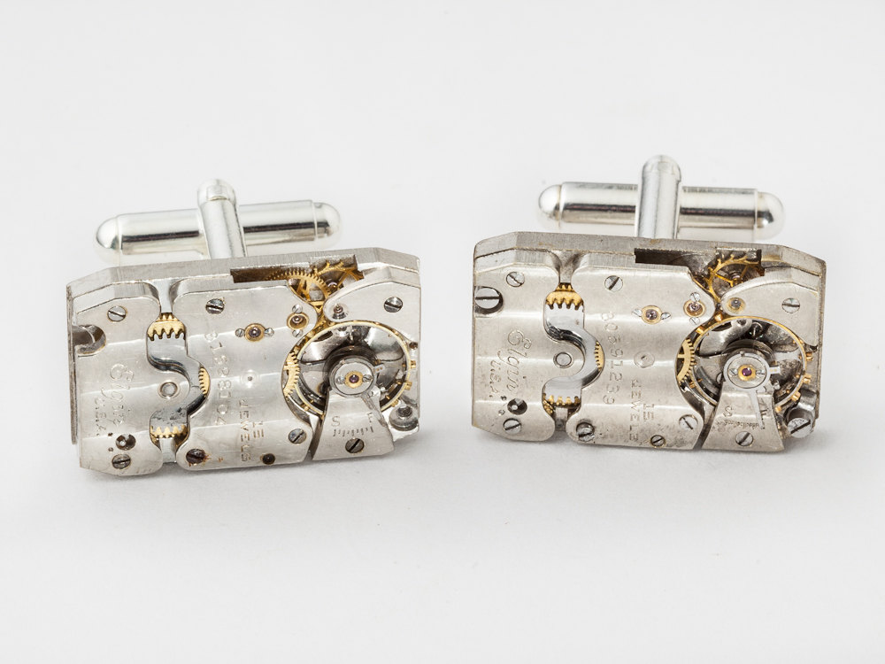 Steampunk cufflinks Elgin watch movements gears wedding grooms silver cuff links mens jewelry