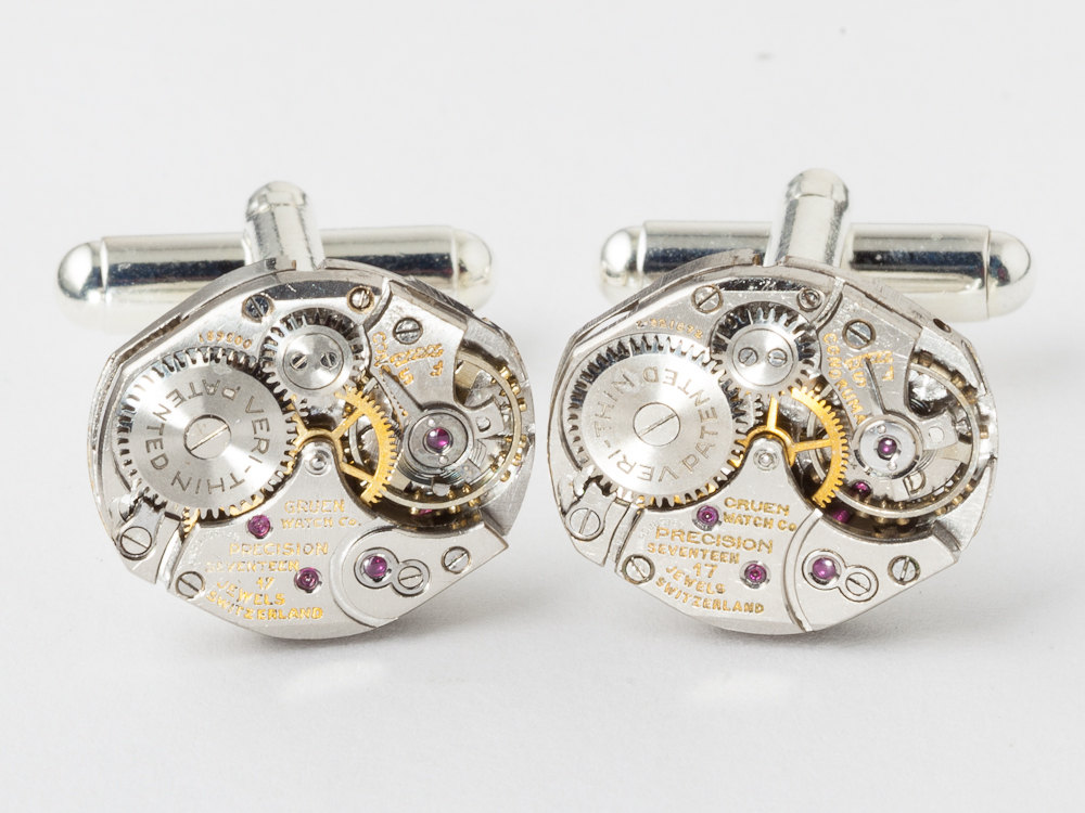 Steampunk Cufflinks Gruen watch movements wedding anniversary Grooms silver cuff links formal men jewelry