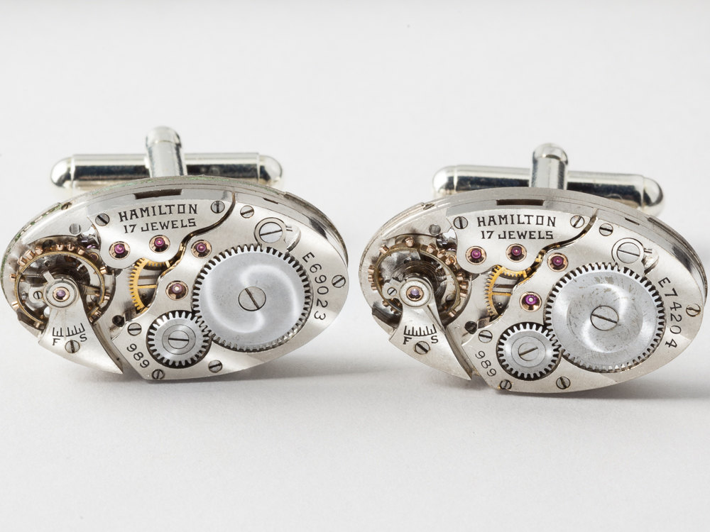 Steampunk cufflinks featuring hamilton wrist watch movements and