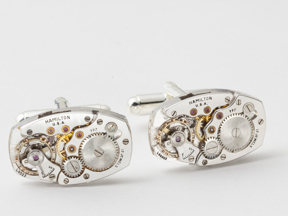 Steampunk cufflinks Hamilton watch movements wedding anniversary Grooms silver cuff links men jewelry