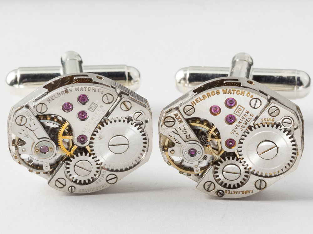 Steampunk cufflinks Helbros watch movements with gears on silver ...