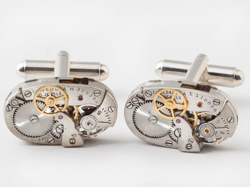 Steampunk cufflinks rare elgin watch movements with gears and ruby