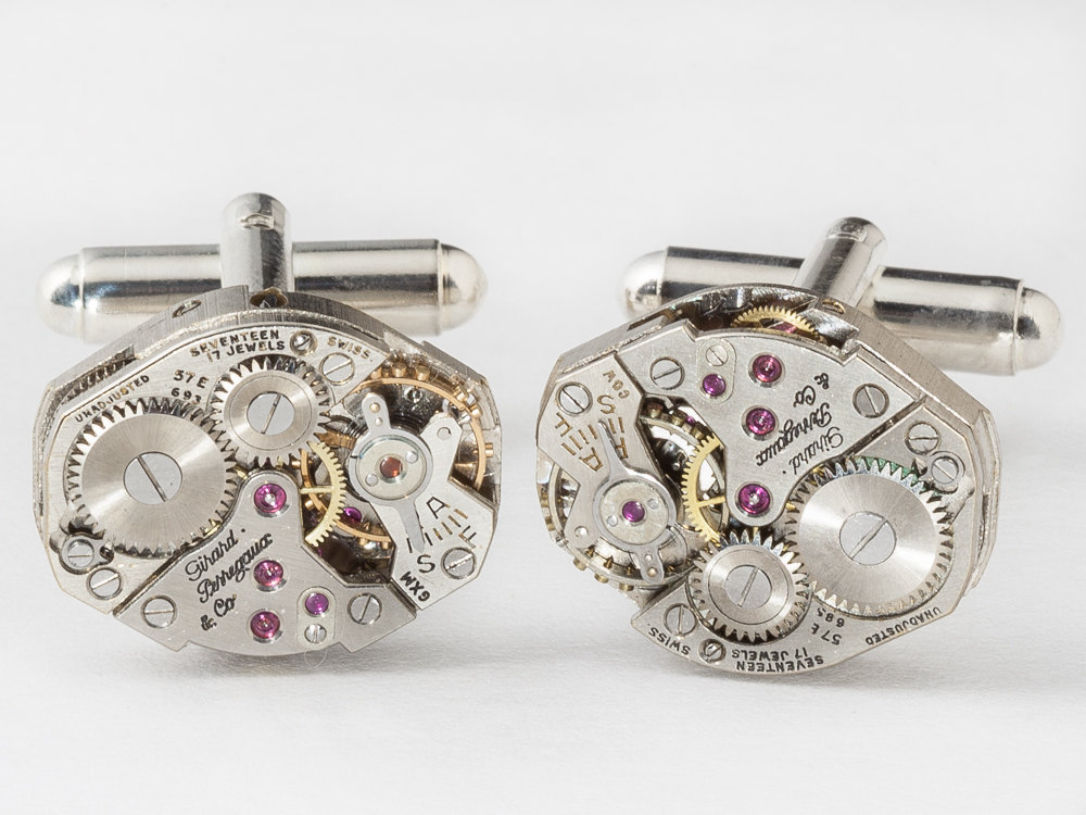 Steampunk cufflinks Rare Girard Perregaux watch movements wedding anniversary Groom silver cuff links men jewelry