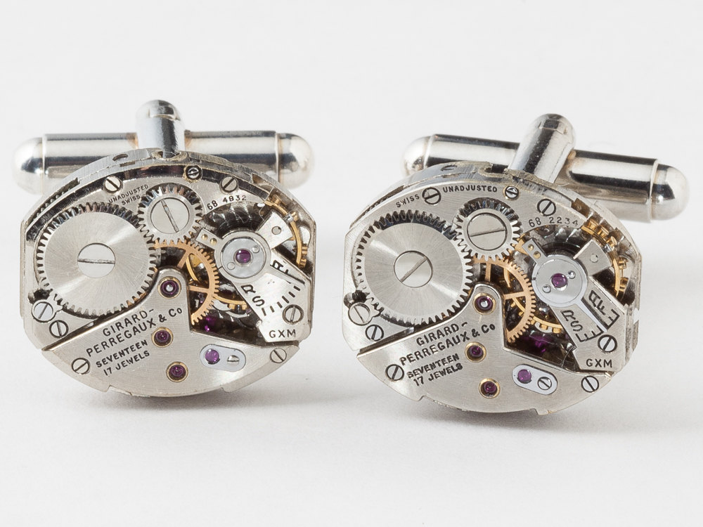 Steampunk cufflinks featuring girard perregaux watch movements