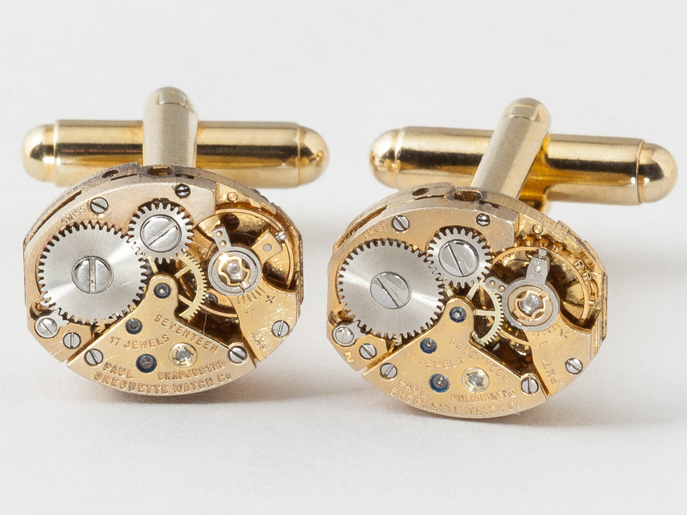 Steampunk Cufflinks Rare Paul Breguette gold watch movements sapphire wedding silver cuff links men jewelry
