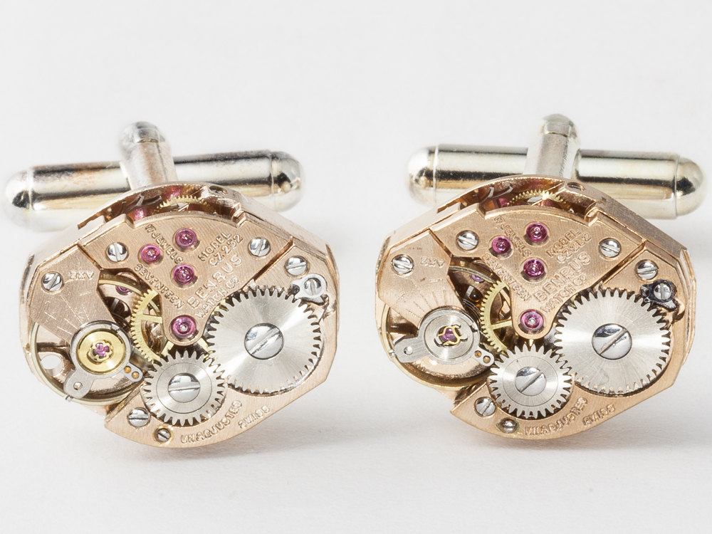 Steampunk cuff links rose gold watch movements with ruby jewels