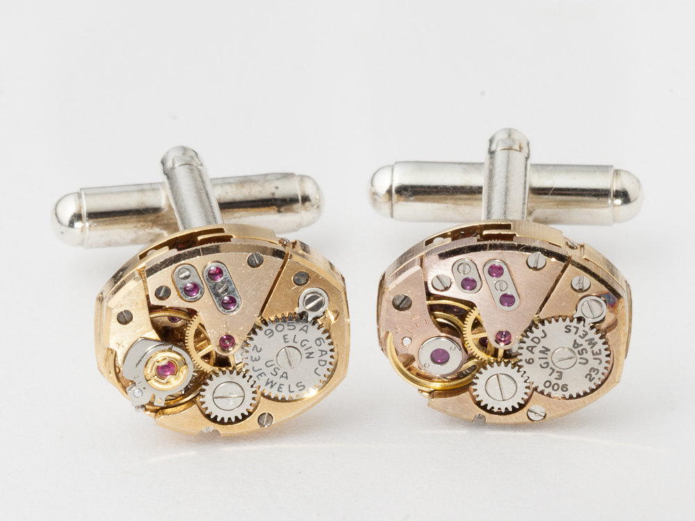 Steampunk cufflinks rose gold watch movements wedding anniversary