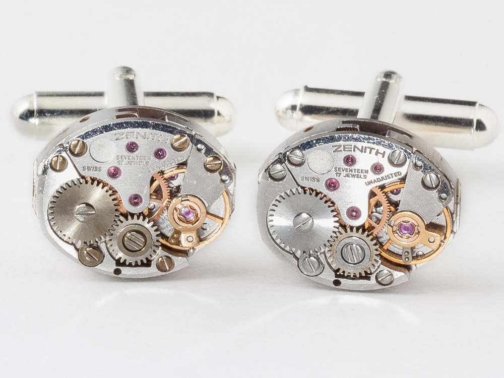 Steampunk Cufflinks ruby jeweled watch movements wedding Anniversary Groom silver cuff links men jewelry
