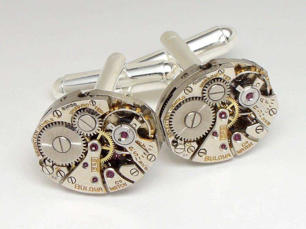 Steampunk cufflinks featuring bulova watch movements with gears and