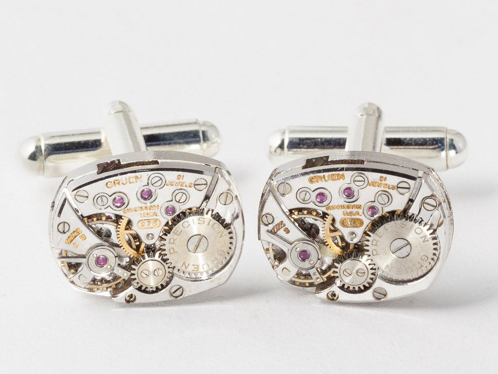 Steampunk cufflinks with vinatge gruen watch movements gears and