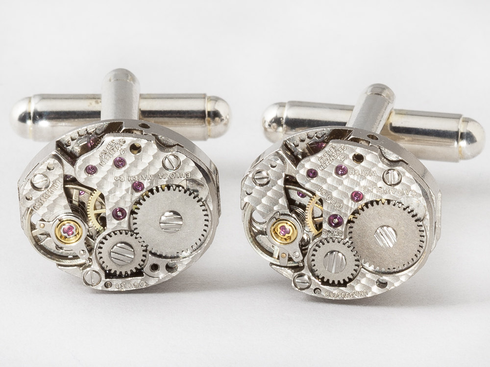 Steampunk cufflinks watch movements & gears with ruby jewels