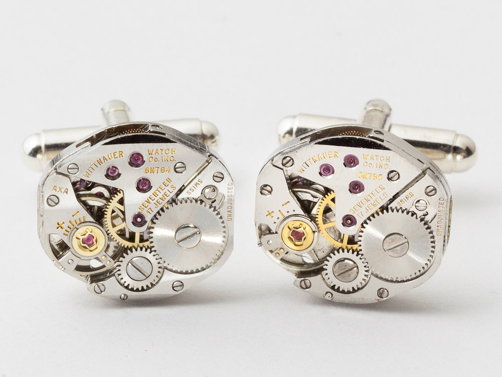 Steampunk Cufflinks watch movements gears wedding anniversary formal grooms silver cuff links men jewelry