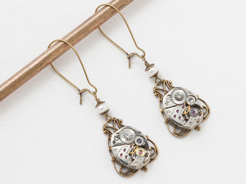 Steampunk Dangle Earrings Silver Watch Movements with Crystal Pearl Victorian Filigree Gold Drop Earrings Wedding Jewelry