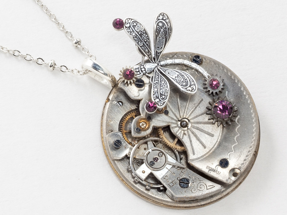 Steampunk Dragonfly Necklace Victorian Pocket Watch with Ruby Jewels Gears Purple Amethyst Crystal Silver Beaded Chain