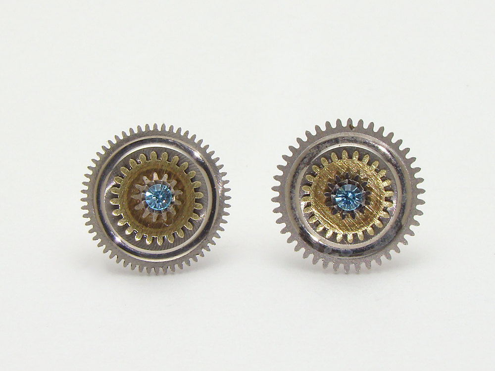 Antique Wheels And Gears : Steampunk earrings antique gold pocket watch gears cogs