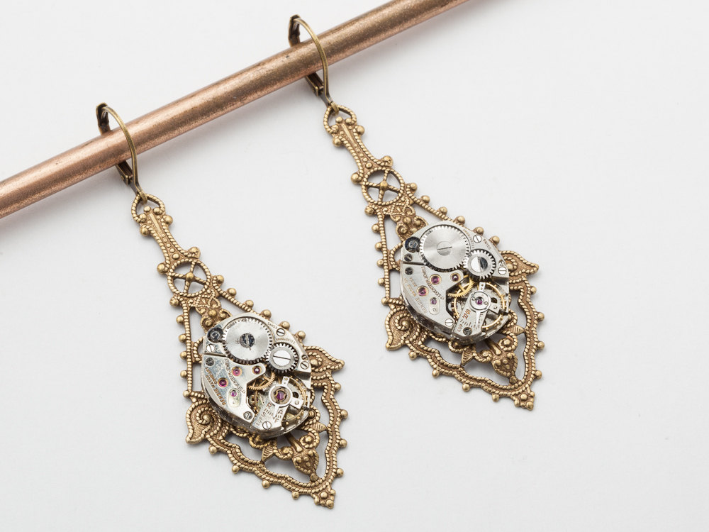 Steampunk Earrings Antique Silver Watch Movements Gear Gold Flower Leaf Filigree Dangle Drop Wedding Jewelry