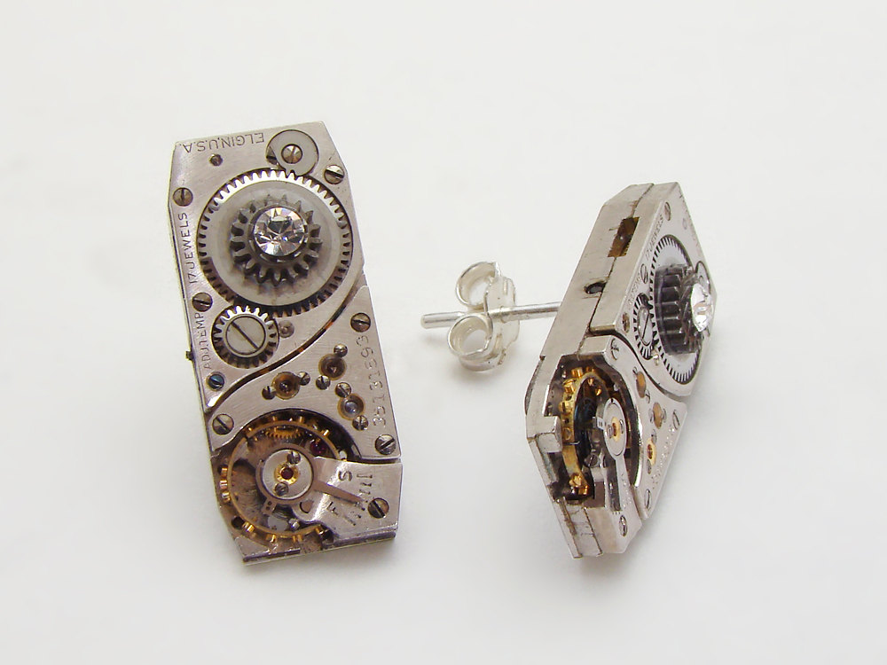 Steampunk Earrings Elgin watch movements ruby jewels gears Sterling Silver posts Swarovski crystal jewelry