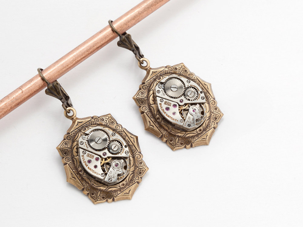 Steampunk Earrings silver Bulova watch movements gold drop earrings leaf motif Dangle earrings Steampunk jewelry