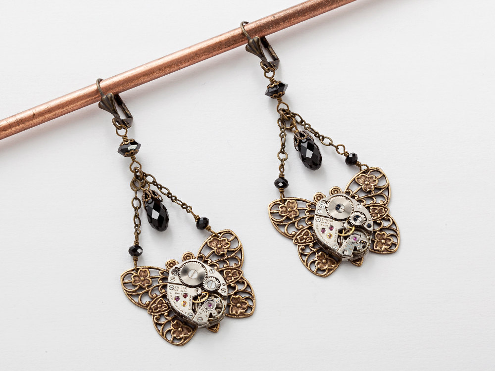 Steampunk Earrings Steampunk jewelry silver watch movements flower black crystal Drop gold filigree butterfly Dangle Earrings