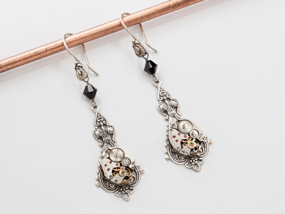 Steampunk Earrings watch movements gears silver filigree black Swarovski crystal wedding drop dangle earrings Steampunk Jewelry