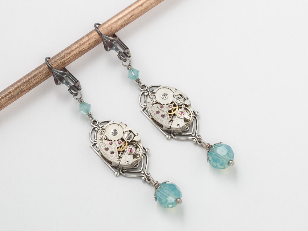 Steampunk Earrings watch movements gears silver filigree blue opal Swarovski crystal dangle drop wedding Steampunk jewelry