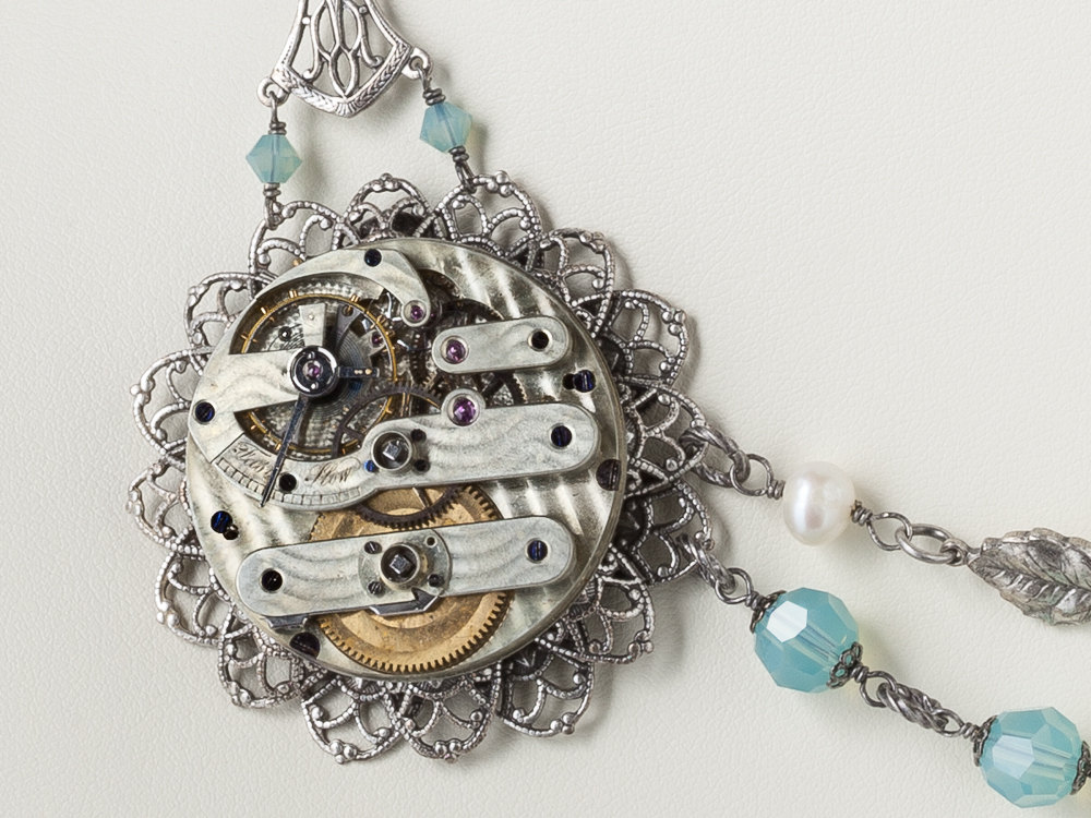 Steampunk Jewelry pocket watch parts bottle silver flower leaf bird pearl blue crystal skeleton key Statement Strand Necklace